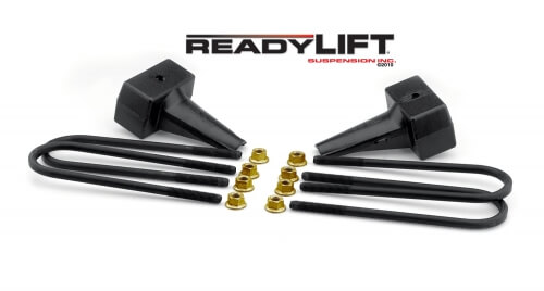 ReadyLIFT 4.0 in. Block Kit Solid Cast Iron Blocks Integrated Rear Bump Stop Landing Locating Pin E-Coated U-Bolts -0