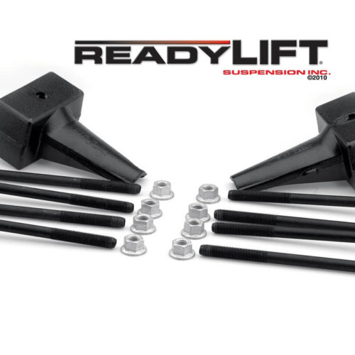 ReadyLIFT 5.0 in. Block Kit Solid Cast Iron Blocks Integrated Rear Bump Stop Landing Locating Pin E-Coated U-Bolts -0