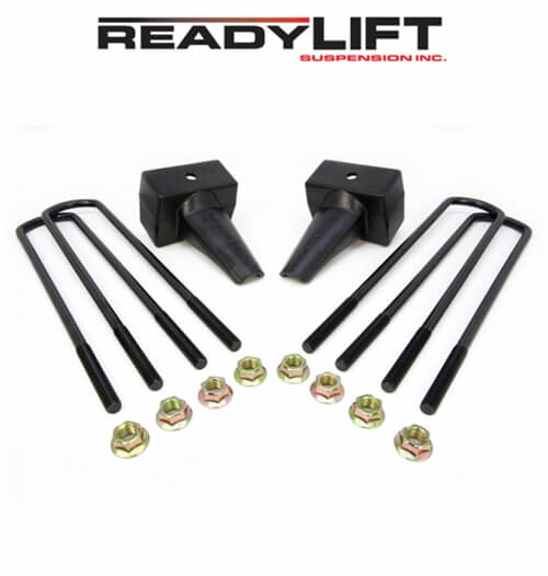 ReadyLIFT 4.0 in. Block Kit Solid Cast Iron Blocks Integrated Rear Bump Stops Locating Pin E-Coated U-Bolts Dually Rear Spring Pack -0