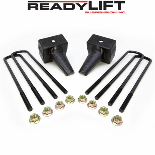 ReadyLIFT 5.0 in. Block Kit Solid Cast Iron Blocks Integrated Rear Bump Stops Locating Pin E-Coated U-Bolts Dually Rear Spring Pack -0