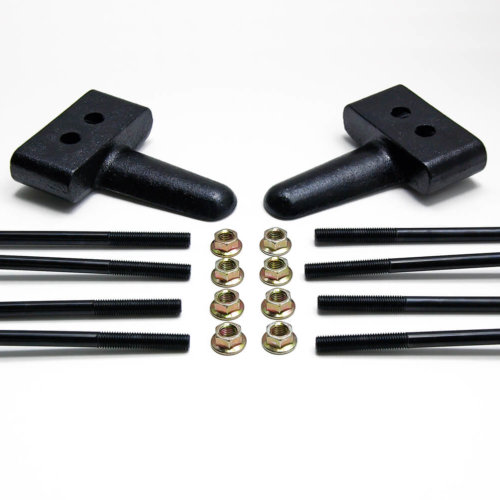 ReadyLIFT 1.5 in. Block Kit OEM Style Model Specific udes Solid Cast Iron Blocks Integrated Rear Bump Stops Locating Pin E-Coated U-Bolts -0