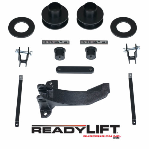ReadyLIFT 2.5 in. Front Leveling Kit Coil Spacers Allows Up To A 37 in. Tire Track Bar Relocation Bracket Sound Isolators Shock Extensions Bump Stop Extensions -0