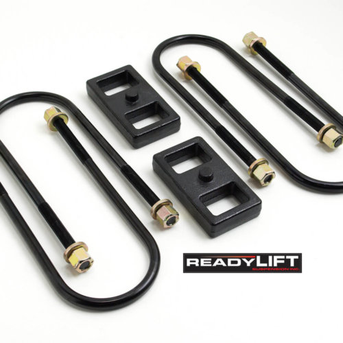 ReadyLIFT 1.0 in. Block Kit OEM Style Model Specific udes Solid Cast Iron Blocks Integrated Locating Pin E-Coated U-Bolts -0