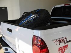N-Fab Bed Mounted Tire Carrier, Textured Black, Blue Strap-0