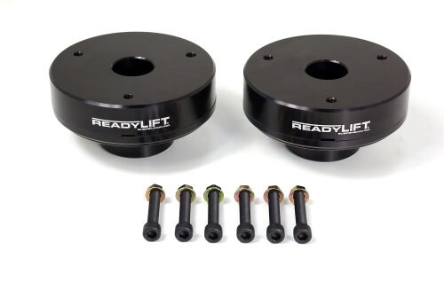 ReadyLIFT T6 Billet Front Leveling Kit 2.25 in. Lift Anodized Black Allows Up To A 33in. Tire May Req. Minor Trim Of Inr FndrWell Rec. Install RrClSpcr For Level Or SlightRakeStance -0