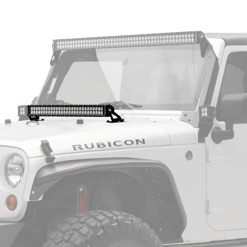 kc 30″ c-series c30 led bar & hood mount bracket kit – jeep jk – kc #367
